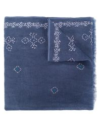 Altea Blue Embroidered Detail Scarf for men