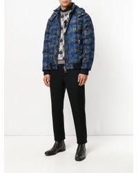 Les Hommes Blue Arrow Print Down Jacket for men