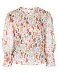 Veronica Beard Multicolor Kali Smocked Floral Top