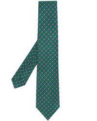 Kiton Green Floral Diamond Print Tie for men