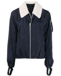 Helmut Lang Blue Fitted Jacket With Shearling Trim