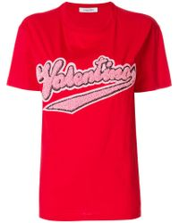 Valentino Red Embellished Cotton T-shirt