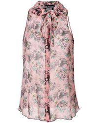 Boutique Moschino - Pink Floral Print Shirt - Lyst