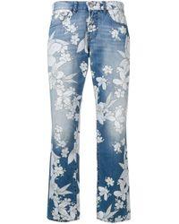 P.A.R.O.S.H. Blue Floral Print Jeans