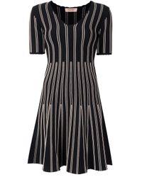 Twin Set Black Stripe-detail V-neck Dress