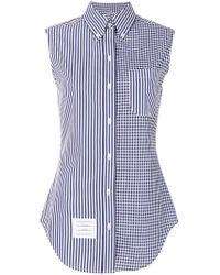 Thom Browne - Blue Sleeveless Striped Checkered Shirt - Lyst