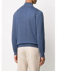 Кашемировый Джемпер С Воротником На Молнии Brunello Cucinelli для него, цвет: Blue