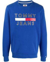 メンズ Tommy Hilfiger ロゴ プルオーバー Blue