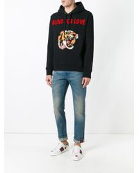 Gucci | Black Tiger Applique Hoodie for Men | Lyst