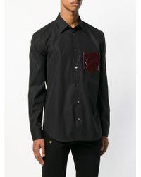 メンズ Maison Margiela コントラストポケット シャツ Black
