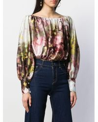 Abstract-print balloon sleeve blouse di L'Autre Chose in Multicolor