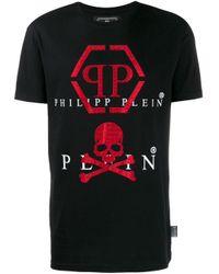 Philipp Plein Black Logo Print T-shirt for men
