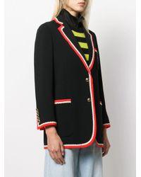 Blazer con ribete en contraste Gucci de color Black