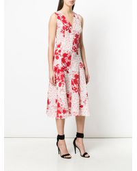 Ermanno Scervino Red Centre Seam Floral Dress