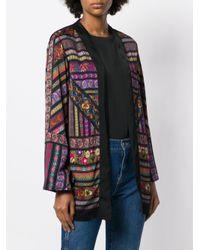 Etro Black Printed Loose Cape Jacket