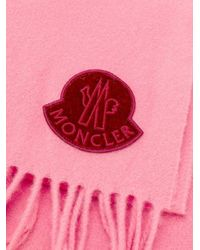 Moncler Pink Logo Patch Winter Scarf