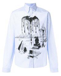 Prada Blue Illustrated Print Striped Buttondown Shirt for men