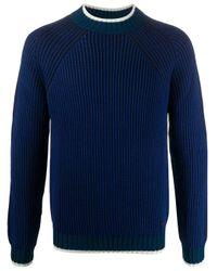メンズ Emporio Armani コントラストトリム セーター Blue