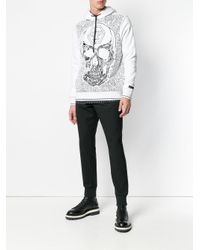 Philipp Plein White Skull Embroidered Hoody for men