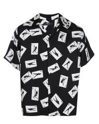 Camisa de manga corta con estampado de cartas Amiri de hombre de color Black