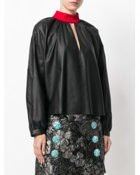 Fausto Puglisi Black High Neck Leather Blouse