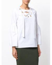MICHAEL Michael Kors White Tie-neck Blouse