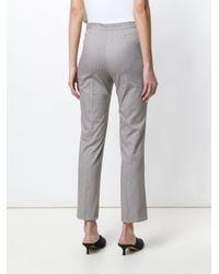 Piazza Sempione Gray Striped Cropped Trousers