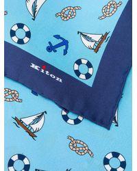 メンズ Kiton ポケットチーフ Blue