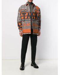 Tom Wood Orange Logo Embroidered Shirt Jacket for men