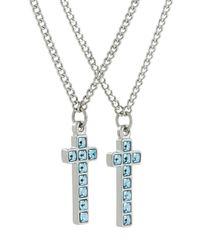 DSquared² Blue Crystal-embellished Cross Necklace for men