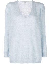 Jersey con cuello en V Allude de color Blue