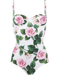 Maillot de bain à fleurs Dolce & Gabbana en coloris White