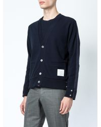 Thom Browne Blue Rear Pocket Cardigan for men
