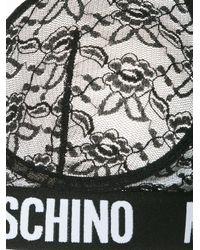 Moschino Black Lace Logo Printed Bralet