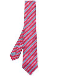 Kiton Red Classic Striped Tie for men