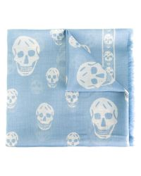 Alexander McQueen Blue Skull Scarf for men