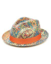 Шляпа-федора С Принтом Пейсли Etro для него, цвет: Blue