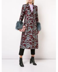 Cinq À Sept Red Long Floral Print Coat