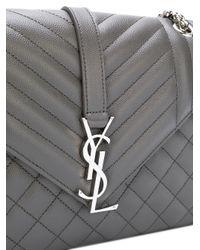 Saint Laurent - Gray Monogram Envelope Bag - Lyst