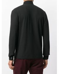 Zanone Black Long Sleeve Polo Shirt for men