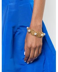 Oscar de la Renta - Multicolor Faux Pearl Net Bracelet - Lyst