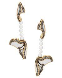 Camila Klein Metallic Long Pearl Earrings
