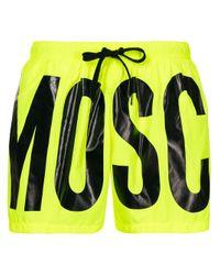 メンズ Moschino ロゴ トランクス水着 Yellow
