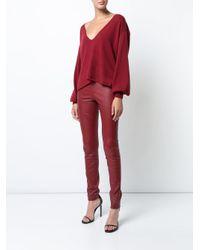 Ryan Roche Red V-neck Sweater