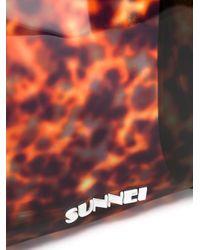 Bolso shopper con panel con efecto de carey Sunnei de hombre de color Brown