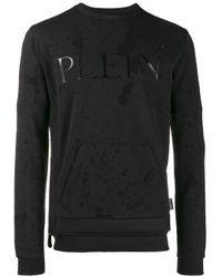 Maglione con effetto vissuto di Philipp Plein in Black da Uomo