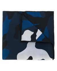 Valentino | Blue Camouflage Scarf for Men | Lyst