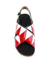 Marni White Zigzag Fussbett Sandals