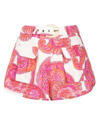 Zimmermann Pink Peggy Paisley-print Safari Shorts