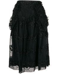 Falda midi con bordado Simone Rocha de color Black